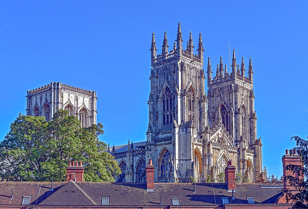 York Minster seen from the city walls at Bootham Bar, York, Yorkshire, England, United Kingdom, Europe - 190-9830