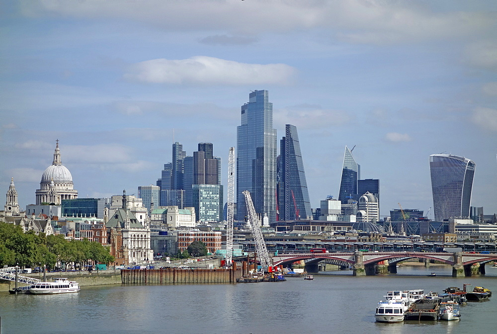 City of London skyline with skyscrapers and St. Paul's Cathedral, London, England, United Kingdom, Europe - 190-9837