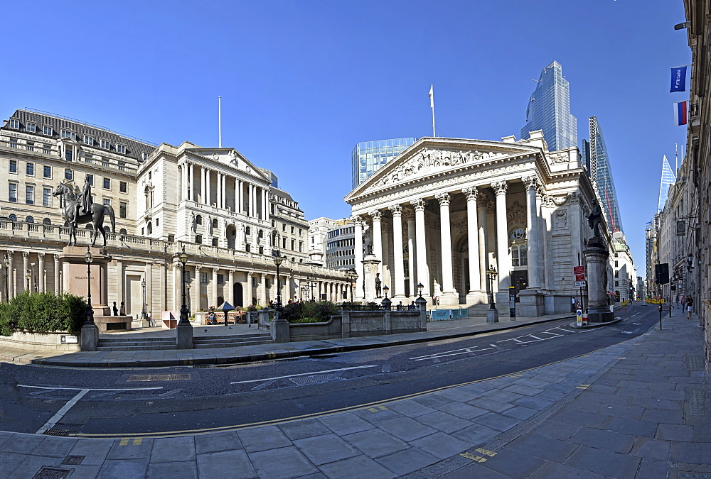 Bank of England and the Royal Exchange, City of London, London, England, United Kingdom, Europe - 190-9838
