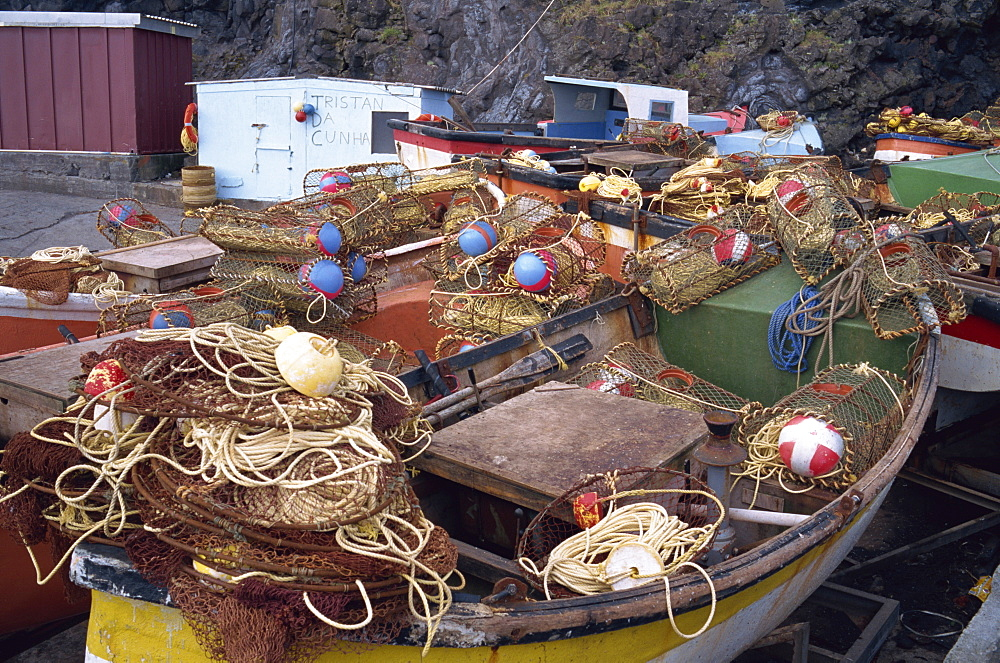 Fishing boats on Tristan da Cunha, Mid Atlantic