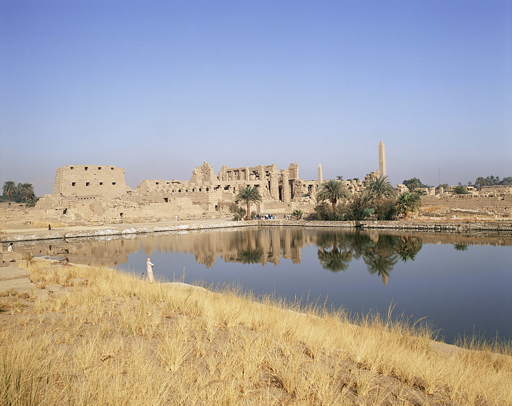 Sacred lake, Temple of Karnak, Thebes, UNESCO World Heritage Site, Egypt, North Africa, Africa