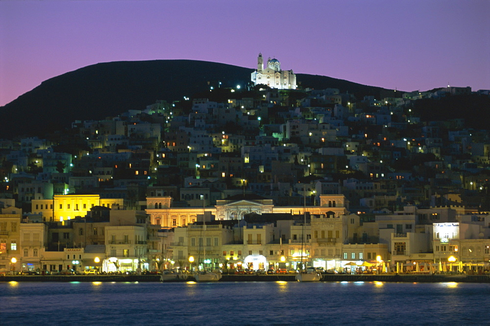 City skyline and church of Anastasis, Ermoupolis City, Syros Island, Cyclades Islands, Greece, Europe