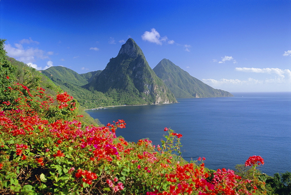 Soufriere and The Pitons, St. Lucia, Windward Islands, West Indies, Caribbean, Central America - 252-10110