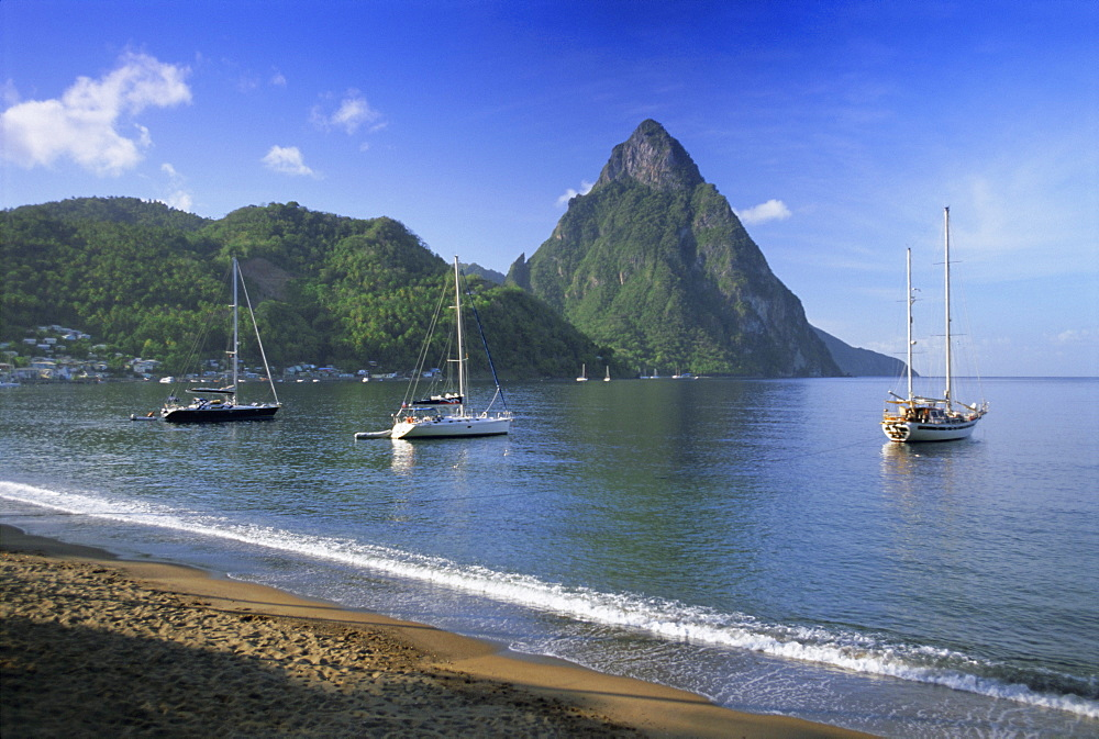 Soufriere and The Pitons, St. Lucia, Windward Islands, West Indies, Caribbean, Central America - 252-10112