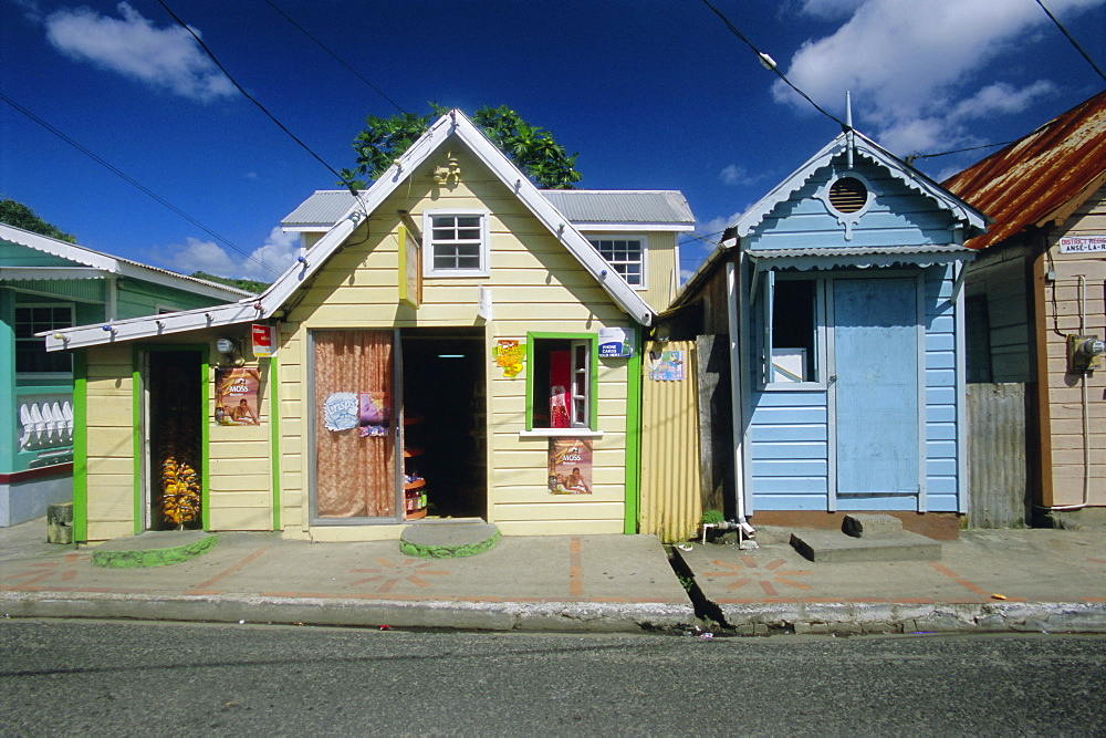 Typical Caribbean houses, St. Lucia, Windward Islands, West Indies, Caribbean, Central America