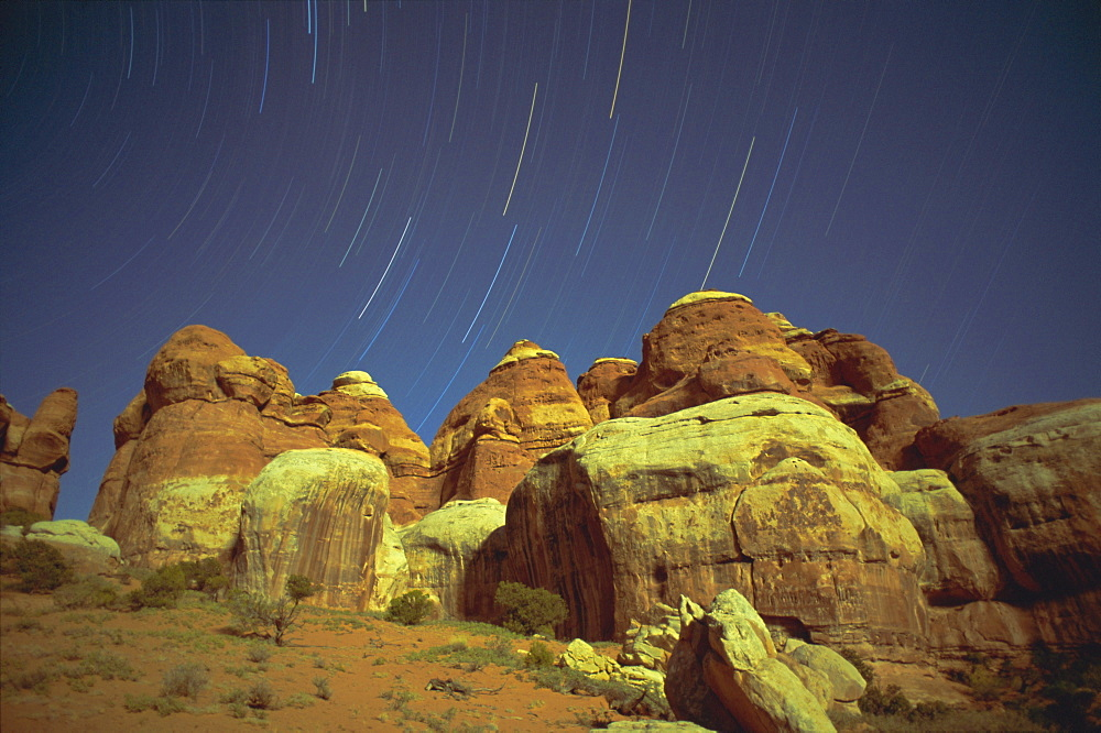 Starstreaks over rock formations, Canyonlands National Park, Utah, USA, North America