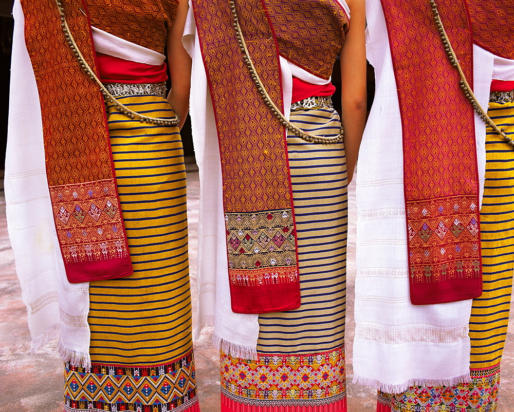 Close-up of traditional North Thai dance costume, Chiang Mai, Thailand, Southeast Asia, Asia - 252-10588