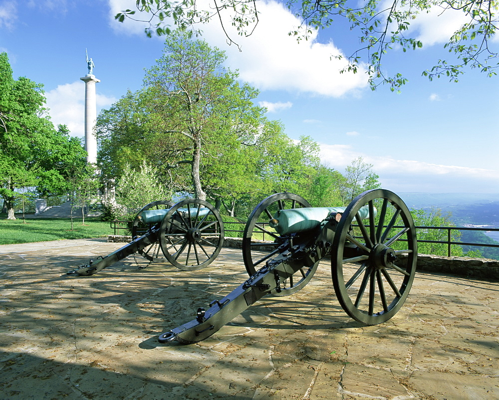 Cannon in Point Park overlooking Chattanooga City, Chattanooga, Tennessee, United States of America, North America