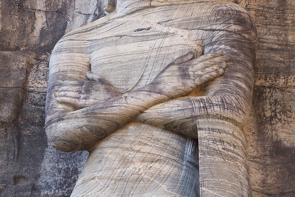 Detail of the rock carved granite image of the 7m tall standing Buddha, Gal Vihara, Polonnaruwa (Polonnaruva), UNESCO World Heritage Site, Sri Lanka, Asia