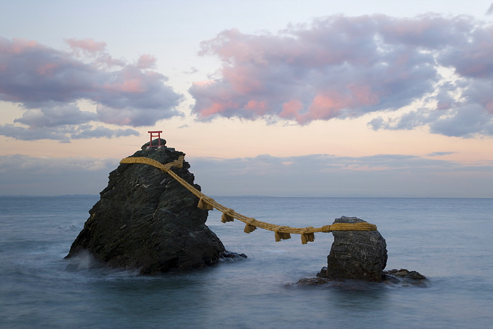 Meoto-Iwa (Wedded Rocks), two rocks considered to be male and female, joined in matrimony by shimenawa (sacred ropes), renewed in a special festival each year, Futami, Ise-Shima, Central Honshu (Chubu), Japan, Asia