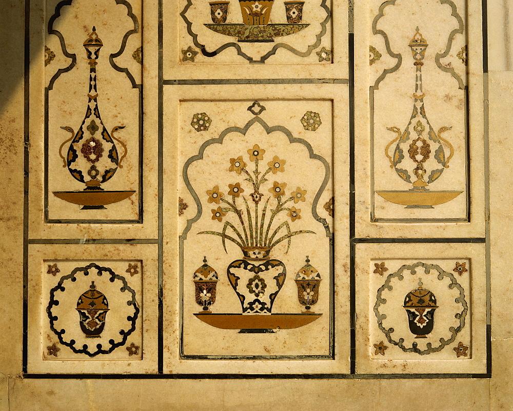 Detail of Itmad ud Daulah's tomb, Agra, Uttar Pradesh state, India, Asia