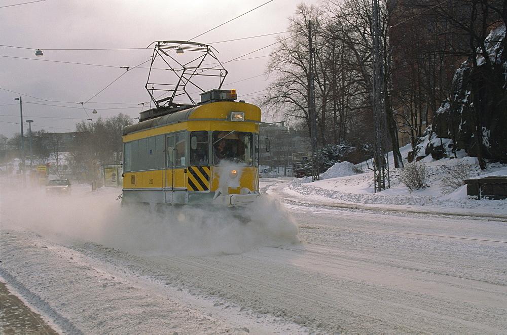 Snow-clearing tram, Helsinki, Finland, Scandinavia, Europe