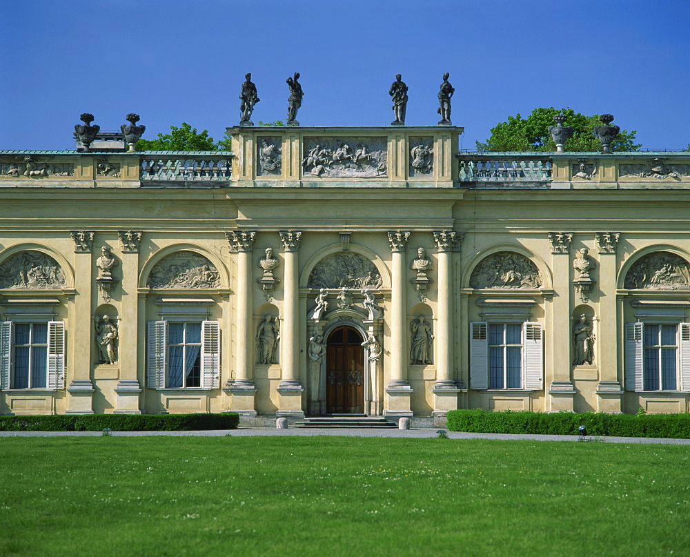Statues and decorative facade of the Wilanow Palace dating from 1696, in Warsaw, Poland, Europe