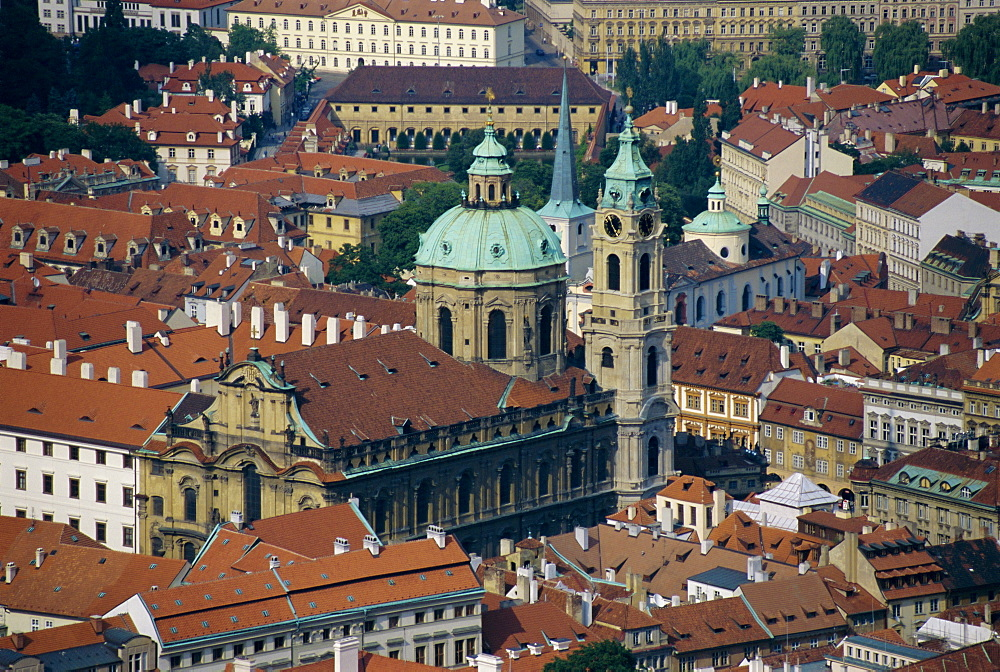 Elevated view of St. Nicholas church, Prague, Czech Republic, Europe