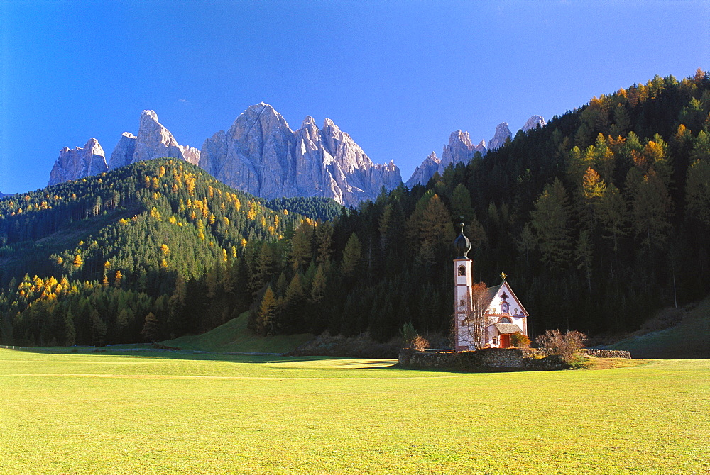 St Johann Church and the Dolomites in the Background, Trentino, Italy - 252-5624