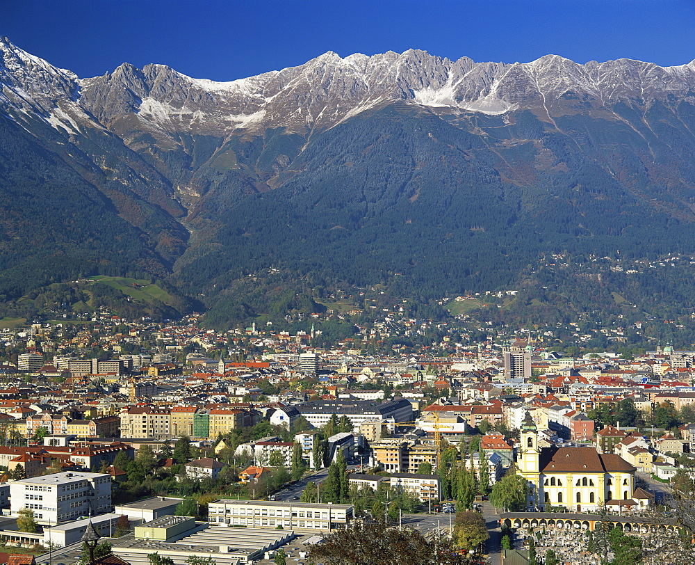 Aerial view over Innsbruck, including the Karwendel Range behind, Tirol, Austria, Europe