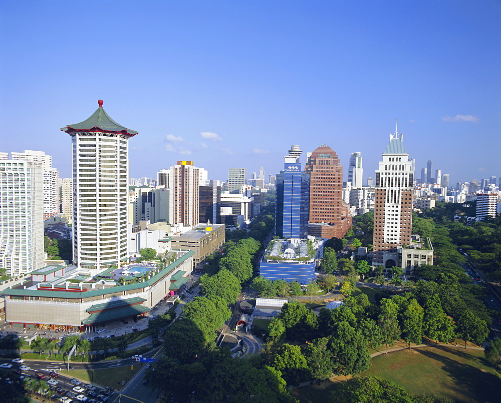 View over the Orchard Road district, one of Asia's most popular shopping areas, Singapore