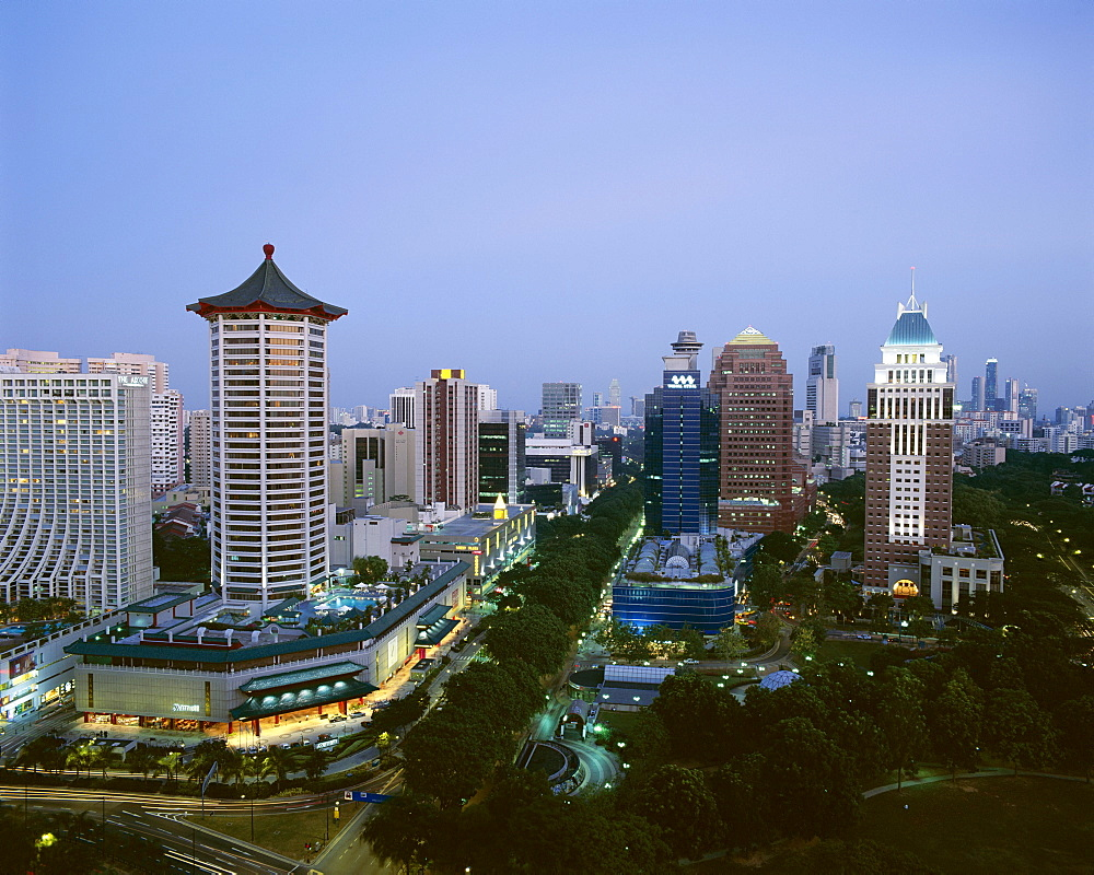 Aerial view over Orchard Road District, one of Asia's most popular shopping areas, Singapore, Southeast Asia, Asia