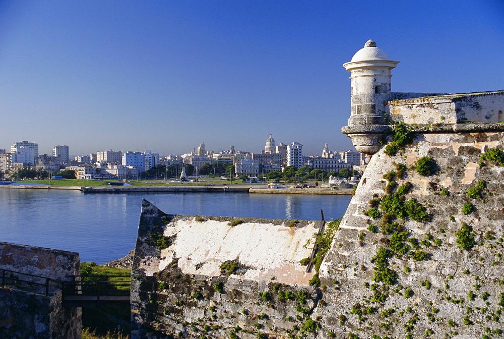City skyline from El Castillo del Morro, Havana, Cuba, West Indies, Central America