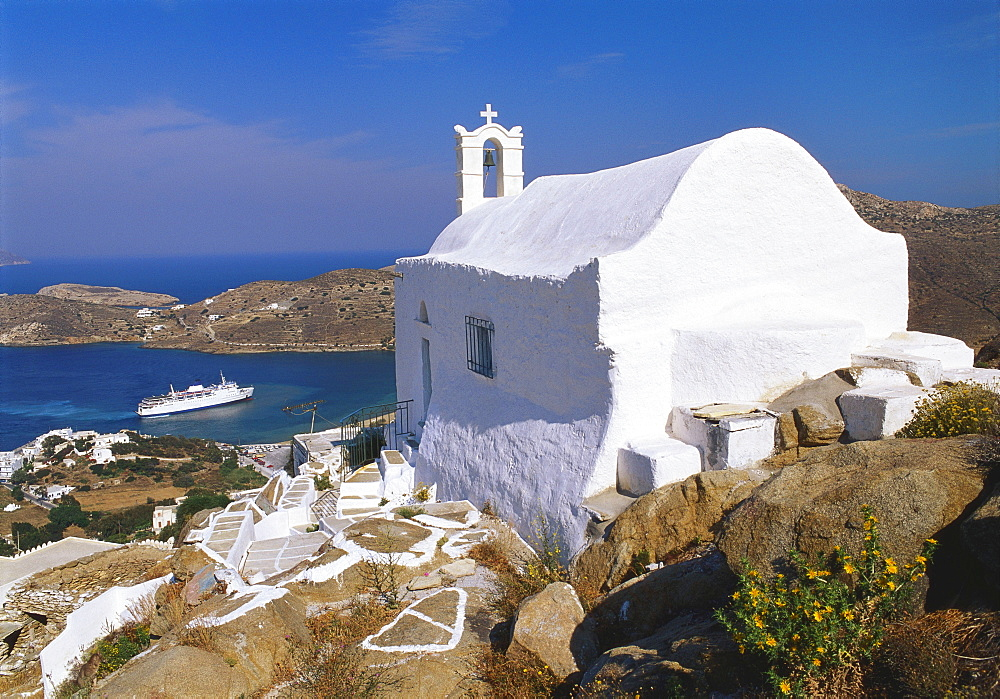 Church by Ormos Harbour, Ios Island, Cyclades, Greece - 252-7405