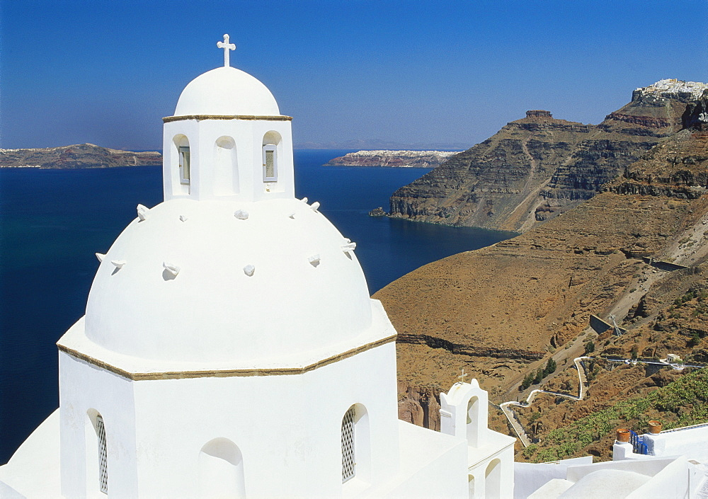 Dome of the Orthodox Church, Thira, Santorini, Cyclades, Greece - 252-7575