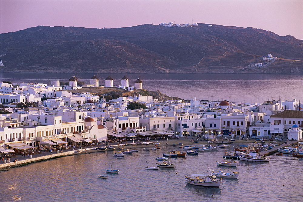 Elevated city view, Mykonos, Hora, Cyclades, Greece, Europe