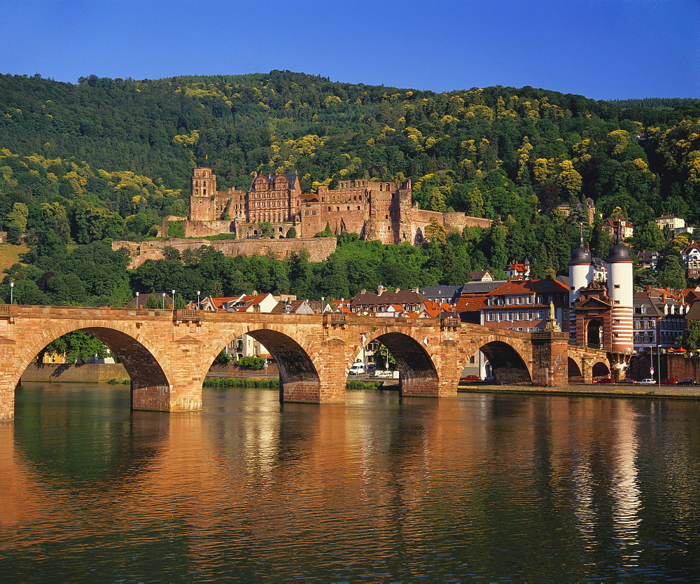Heidelberg Castle, Alte Brucke and the River Neckar, Heidelberg, Baden Wurttemberg, Germany - 252-7688