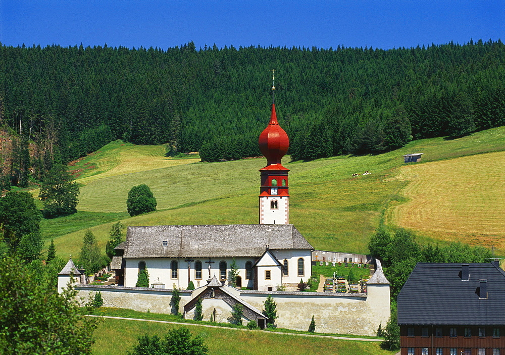 Church and Cemetery, Urach, Black Forest, Baden Wurttemberg, Bavaria, Germany - 252-7861