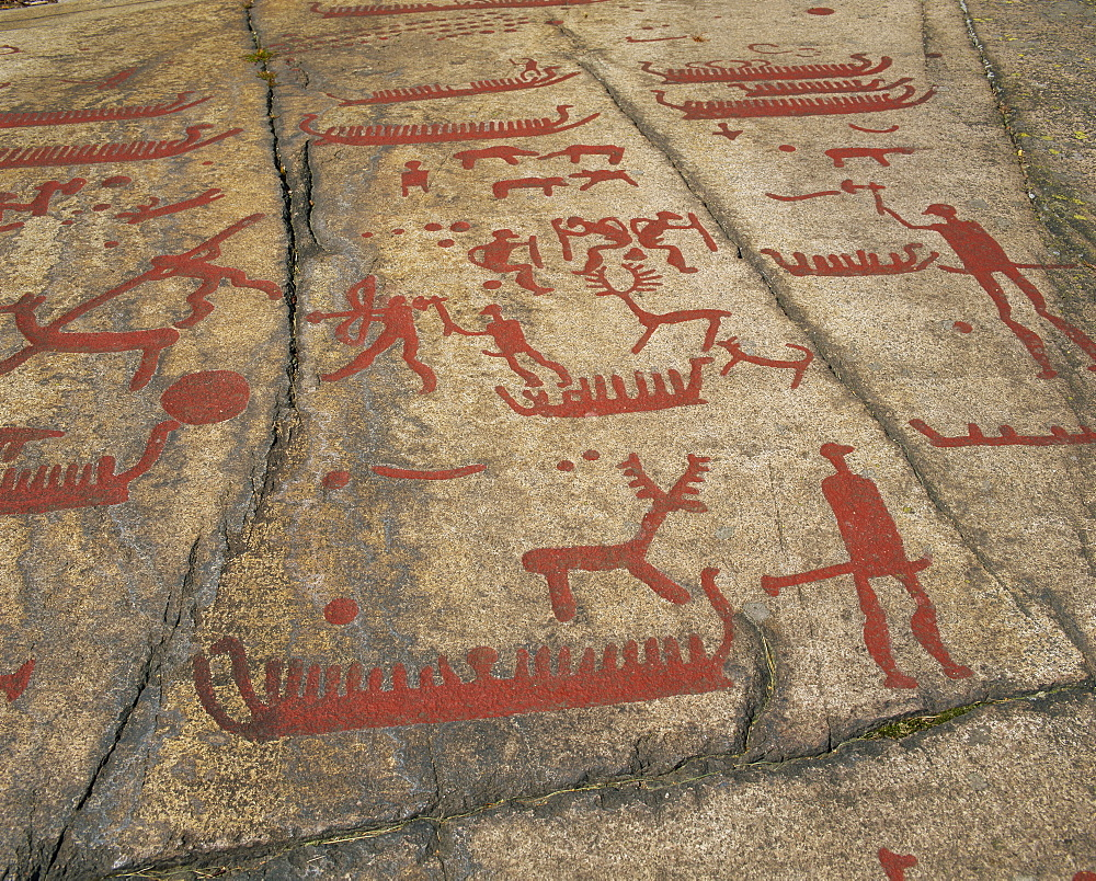 Ancient rock carvings from the bronze age, Gotaland Fossum near Tanumshede, Sweden, Scandinavia, Europe