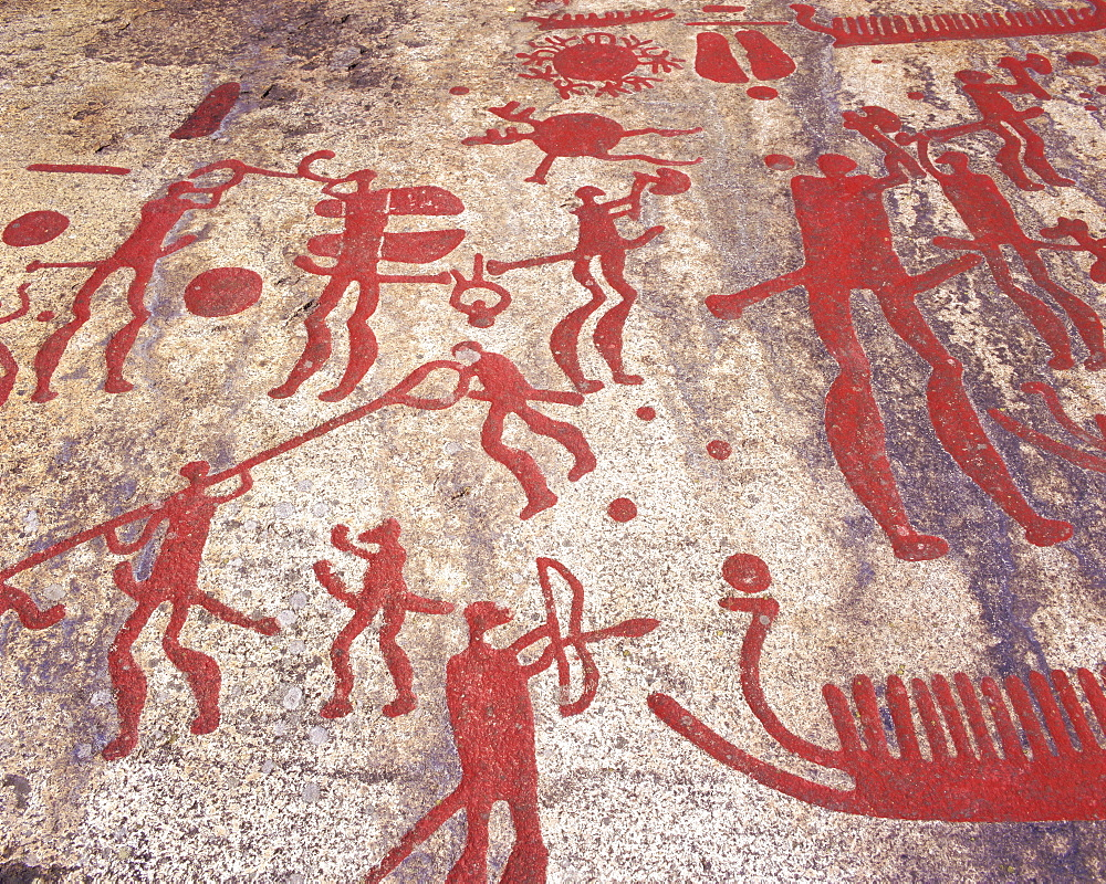 Ancient rock carvings from the Bronze Age, Fossum near Tanumshede, Gotaland, Sweden, Scandinavia, Europe
