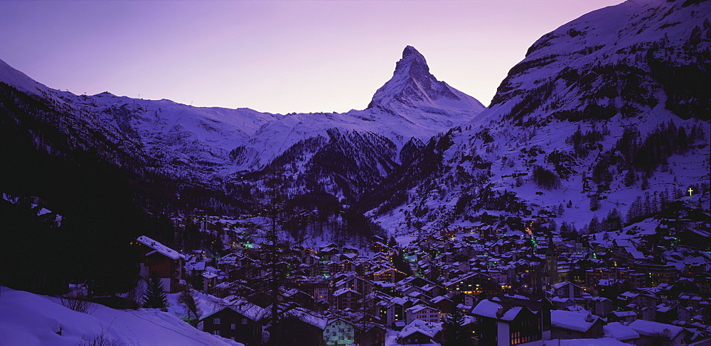 Matterhorn Mountain and Town at Twilight, Zermatt, Switzerland - 252-9693