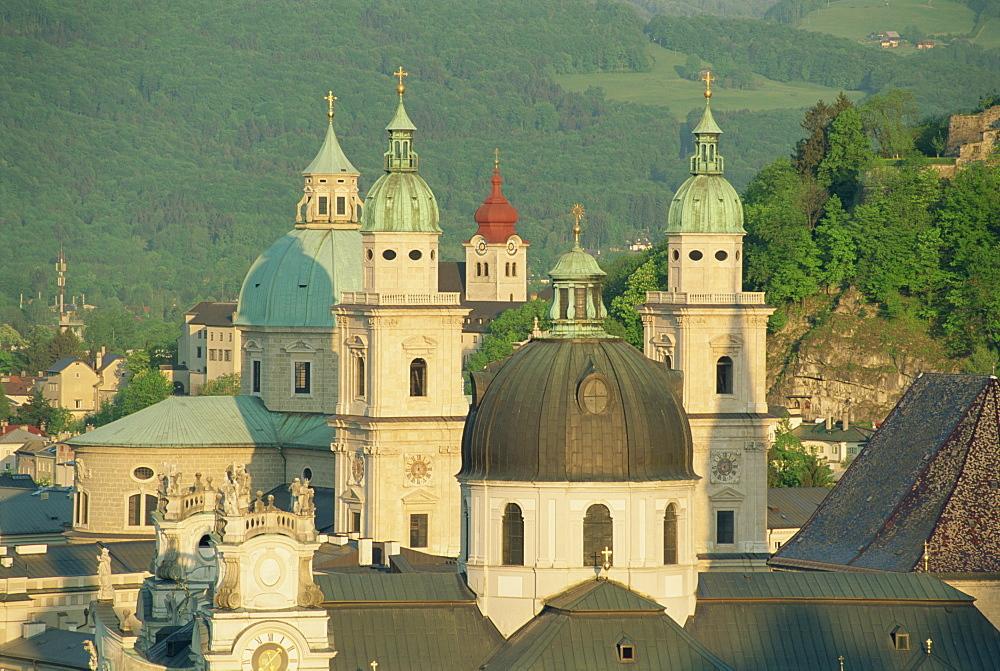 Kollegienkirche and Cathedral domes, Salzburg, Austria, Europe