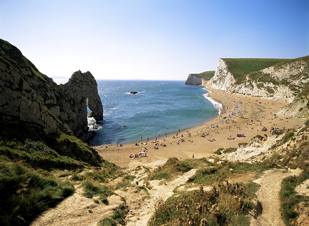 Durdle Door and beach, Dorset, England, United Kingdom, Europe