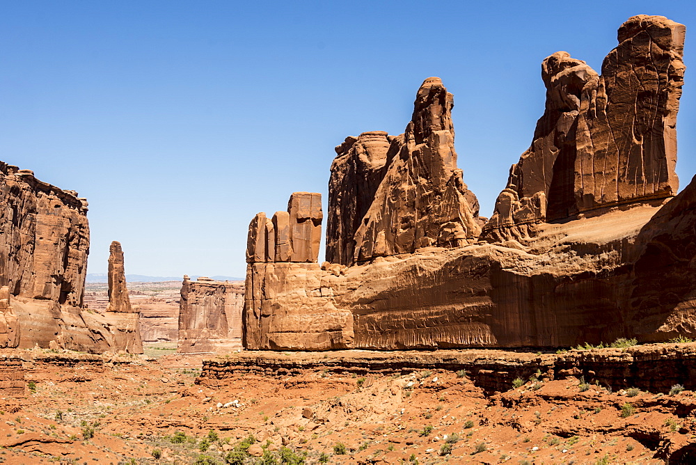 Sandstone towers along Park Avenue canyon, Arches National Park, Moab, Utah, United States of America, North America