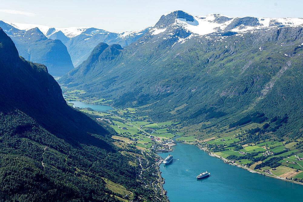 Oldedalen seen from top of Loenskylift, Nordfjord, Olden, Norway, Scandinavia, Europe - 29-5571