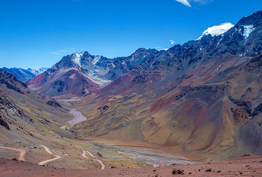 Libertadores Pass (Bereja Pass) 4200m asl over Andes, from Chile to Argentina, Argentina, South America