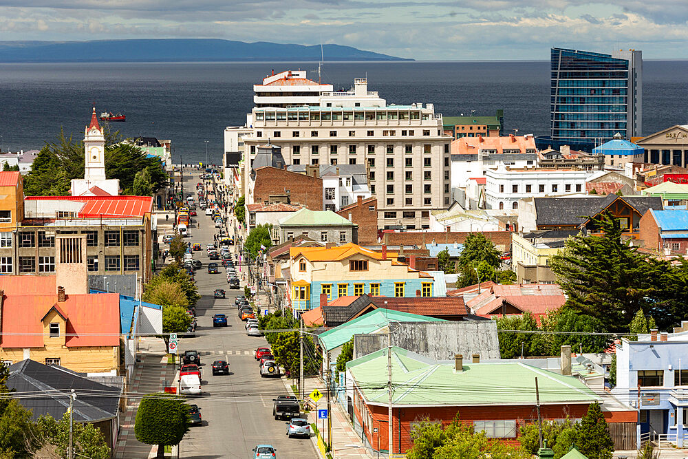 View down Avenida Independencia to Magellan Strait, Punta Arenas, Chile, South America - 29-5591