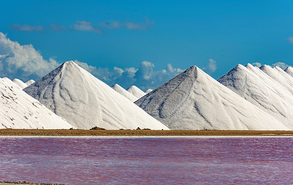 Stacks of salt beside large salt pans, Bonaire, ABC Islands, Dutch Antilles, Caribbean, Central America - 29-5605