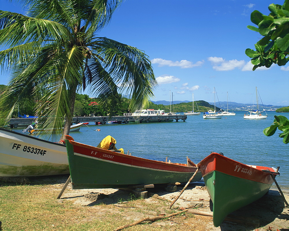 Fishing boats pulled up onto the beach at Trois Ilets Harbour, Martinique, Lesser Antilles, West Indies, Caribbean, Central America