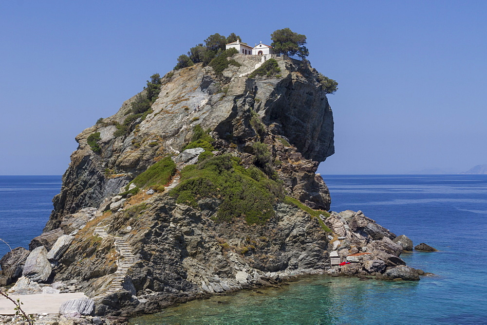 Agios Ioannis chapel, used in the film Mama Mia, Skopelos, Sporades, Greek Islands, Greece, Europe