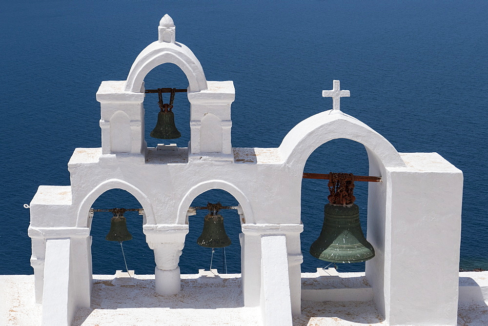Church bells, Oia, Santorini, Cyclades, Greek Islands, Greece, Europe - 306-4365