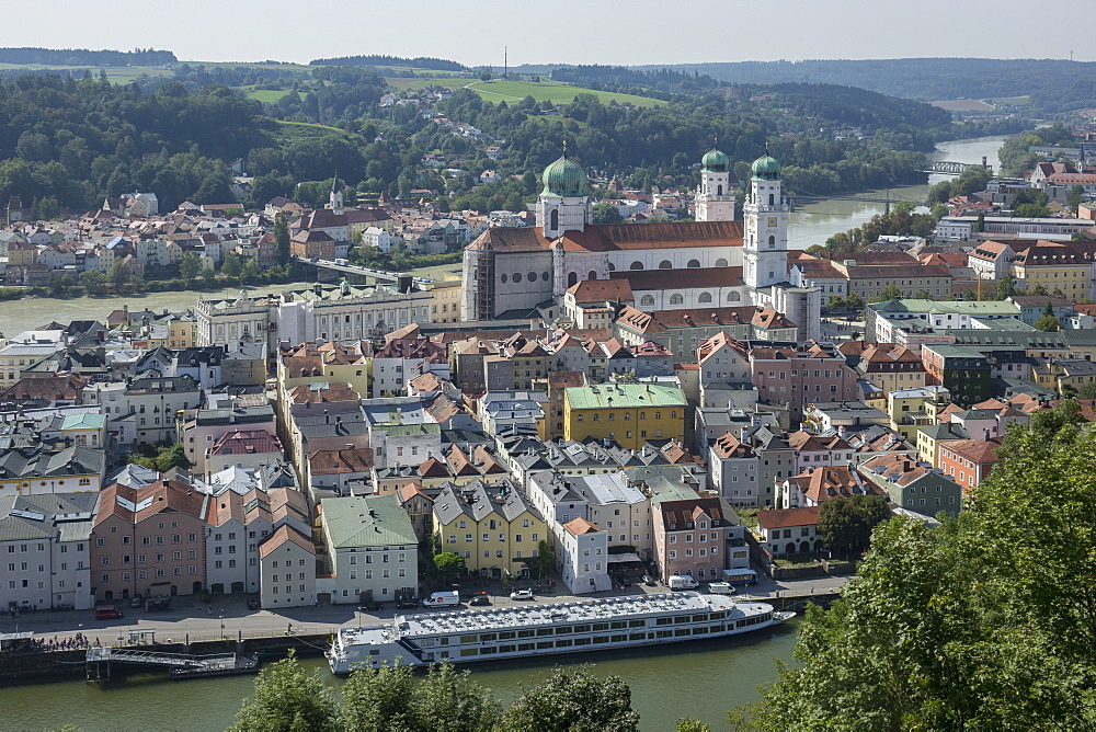 Aerial view of Passau, with River Danube in foreground and River Inn in the distance, Lower Bavaria, Germany, Europe - 306-4434
