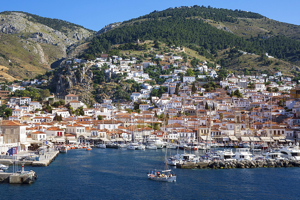 Harbour, Hydra, Saronic Islands, Greek Islands, Greece, Europe