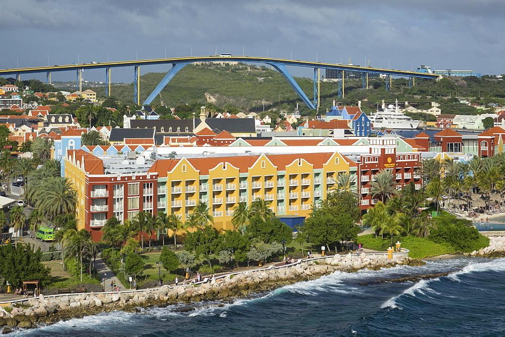 Queen Juliana Bridge and Rif Fort, Willemstad, Curacao, Lesser Antilles, Caribbean, Central America - 306-4497