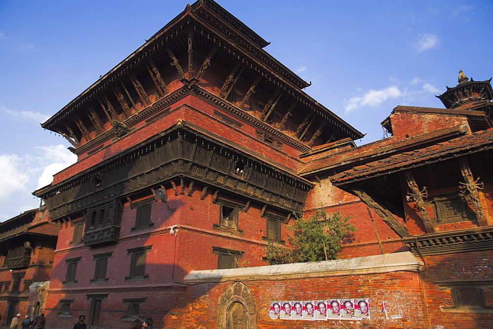 A house with carved wooden windows, Durbar Square, UNESCO World Heritage Site, Patan, Bagmati, Nepal, Asia
