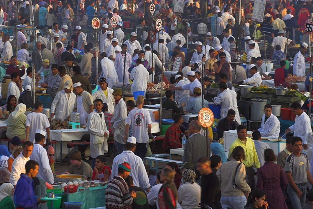 Night market, Djemma El Fna Square, Marrakesh, Morocco, North Africa, Africa