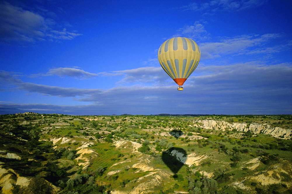 Hot air ballooning above Cappadocian landscape, Cappadocia, Anatolia, Turkey, Asia Minor, Asia