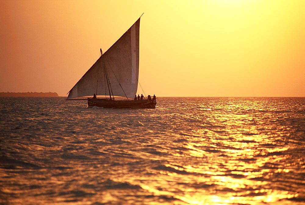 Dhow in silhouette on the Indian Ocean at sunset, off Stone Town, Zanzibar, Tanzania, East Africa, Africa - 321-3905
