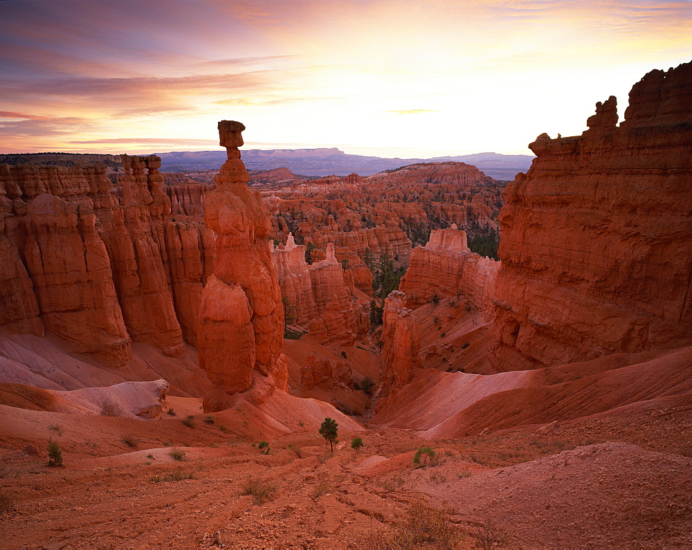 Backlit hoodoos and Thor's Hammer, Bryce Canyon National Park, Utah, United States of America, North America