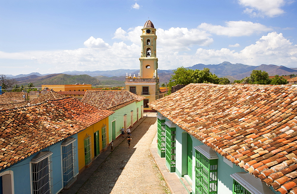 View from the balcony of the Museo Romantico towards the tower of Iglesia y Convento de San Francisco, Trinidad, UNESCO World Heritage Site, Cuba, West Indies, Central America